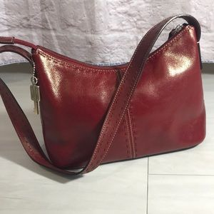 Fossil red zip top purse